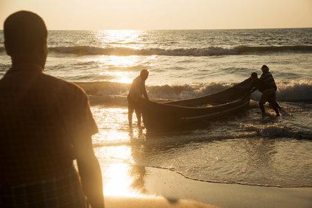 Udupi, Karnataka,India, 22 November 2020 - fishermen at beach