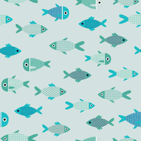 Vector aqua abstract fish catoon seamless pattern background. Perfect for wallpaper, fabric, packaging and scrapbooking projects. Çizim