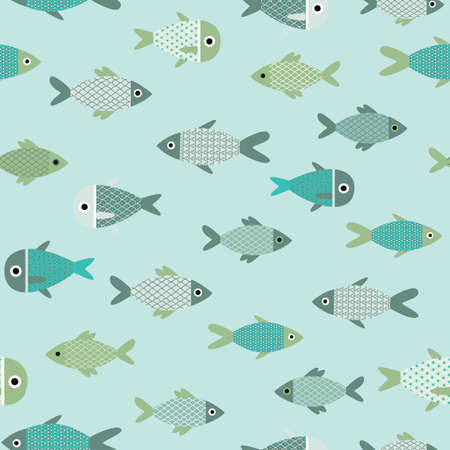Vector aqua abstract fish seamless pattern background.
