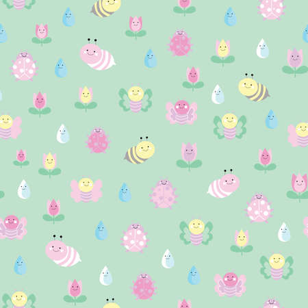 Vector green garden insects and flowers seamless pattern background.