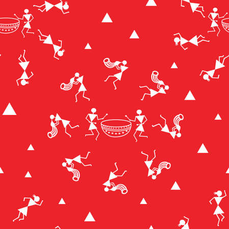 Vector traditional Warli Art painting seamless pattern - hand drawn traditional the ancient tribal art India. Perfect for fabric, wallpaper and printing projects.