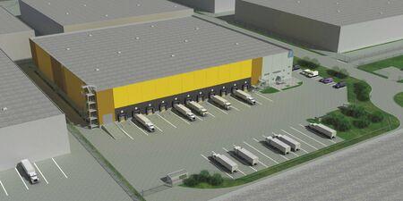 The top view of production warehouse Фото со стока