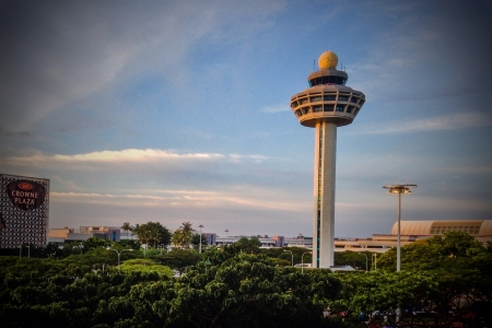 Control tower at sunset