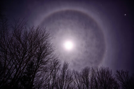 cirrus: Photo of the night sky featuring a Moon or Halo on a winter