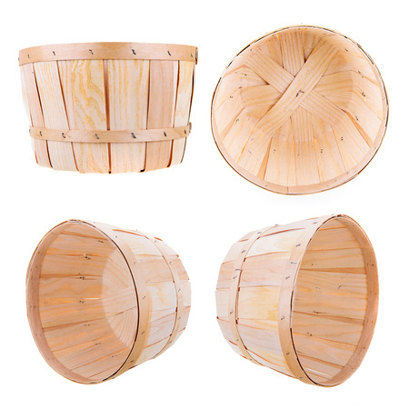 bushel: A classic produce bushel basket isolated on white.  Includes four different perspective angles.
