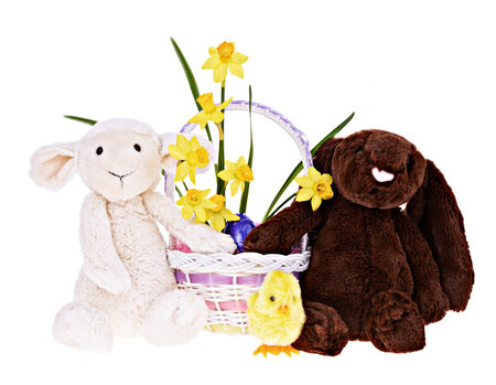 A plush lamb, bunny, and chick holding a basket of Easter eggs and flowers.  Isolated on a white background.    photo