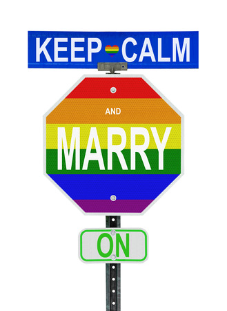 road signs and uses Gay Pride colours    photo