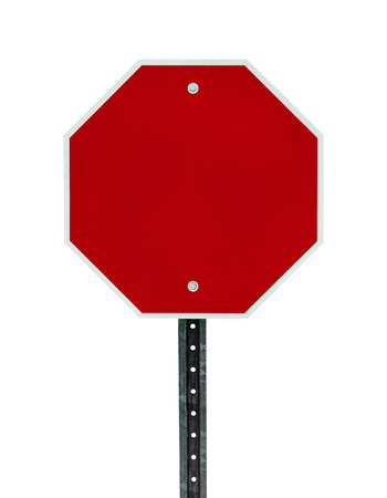 sign post: Photograph of a blank red traffic stop sign with all text letters removed. Surface grid pattern has be left intact.  Isolated on a white background.