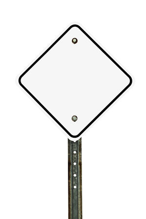 diamond letters: Photograph of a blank diamond shaped white traffic sign with black border. All text letters have been removed. Isolated on a white background.