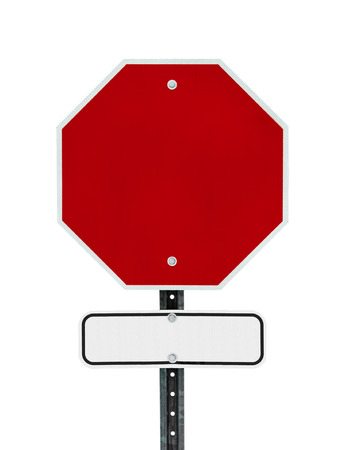 sign post: Photograph of a blank red traffic stop sign and a rectangular black bordered white sign below it.  All text letters have been removed. Surface grid pattern has be left intact.  Isolated on a white background.     Stock Photo