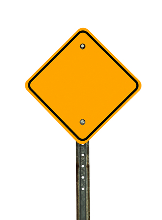 Photograph of a blank diamond shaped yellow caution traffic sign with black border. All text letters have been removed. Isolated on a white background.  photo