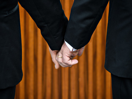 Two gay men stand hand in hand before the marriage altar having just been legally married under Same-Sex Marriage legislation.  Their bodies form the shape of the letter