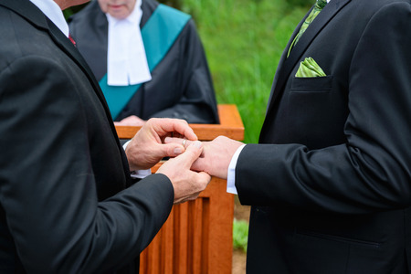 A man putting a ring on another man photo