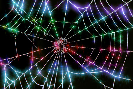 Close up of colorful sparkling dew drops on a spider web