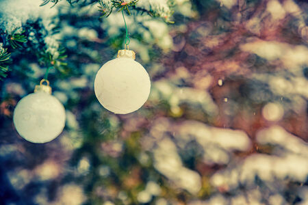 Two white Christmas bauble decorations hanging off a spruce tree outside partially covered in snow.  Room for copy space.  Retro, faded, vintage