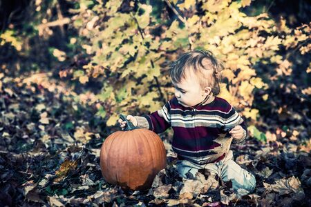 A boy sits beside a pumpkin outside on the leaf covered ground in a forested landscape holding on to the stem during the autumn season.  Filtered to give vintage, faded look. photo