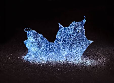 A glowing blue frozen maple leaf half buried in snow and ice pellets.