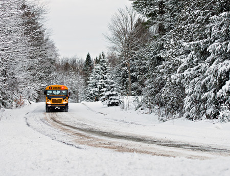 A school bus drives down a snow covered rural country road lined with snow covered trees after a snow storm during the winter season.  Series 1 of 3