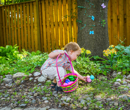 finds: An adorable little boy holding a basket full of colorful Easter eggs finds more eggs during an egg hunt in a beautiful garden in the spring.  Part of a series. Stock Photo