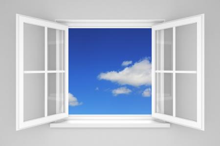 ventana abierta: Abra la ventana en el cielo azul Foto de archivo