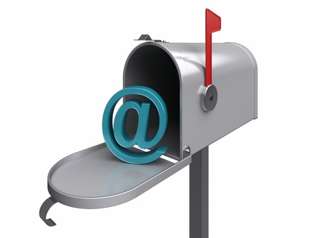 inbox: Internet mailbox, isolated. 3d rendered image