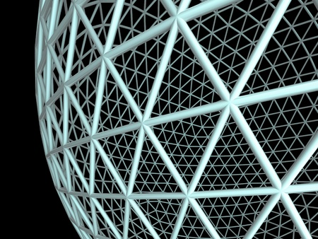 Wired 3d sphere on a black  background Stock Photo - 11246449