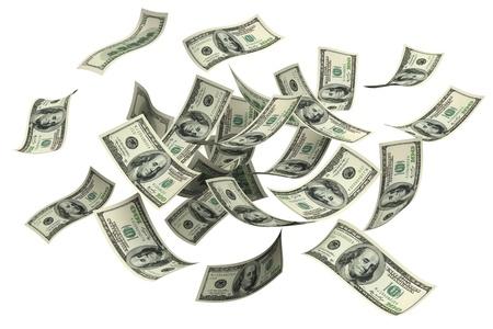 Dalend geld op een witte achtergrond Stockfoto