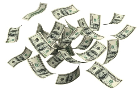 money flying: La caída de dinero en un fondo blanco Foto de archivo