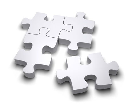 Jigsaw puzzle on a white background. 3d image photo
