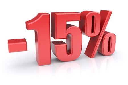 percentage sign: 15% discount icon on a white background