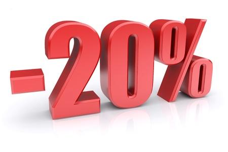 20: 20% de descuento icono sobre un fondo blanco