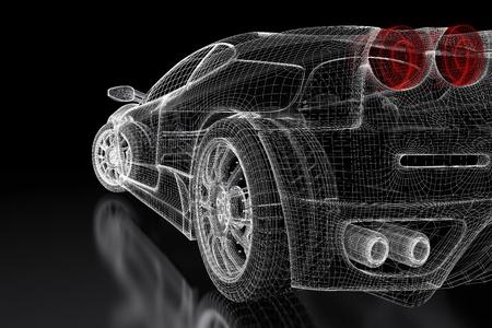 Sport auto model op een zwarte achtergrond. 3d teruggegeven beeld