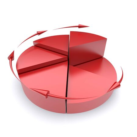 business efficiency: Red pie chart on a white background. 3d rendered image