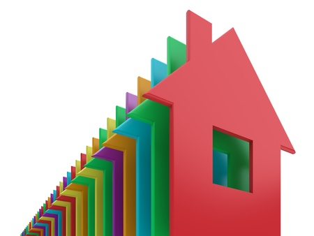 Colored 3d homes on a white background. Stock Photo - 11494710