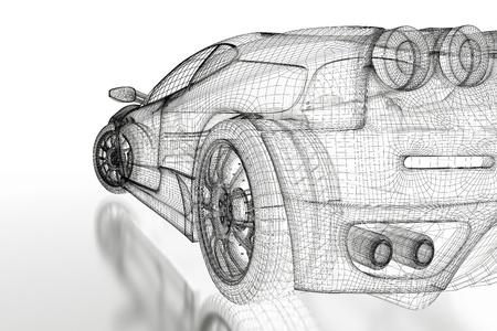 dibujo tecnico: Sport modelo de coche sobre un fondo blanco. Imagen 3d rindi�