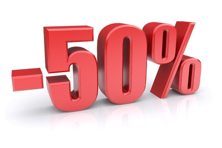 percent sign: 50% discount icon on a white background