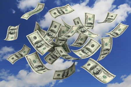 us dollar bill: Falling Dollars from the sky