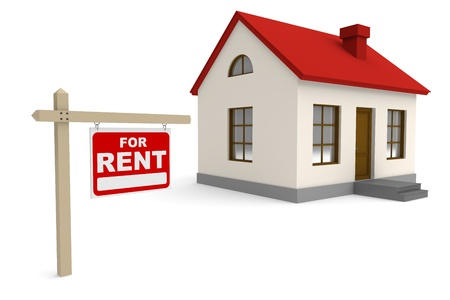 for rent sign: House for rent. 3d rendered image