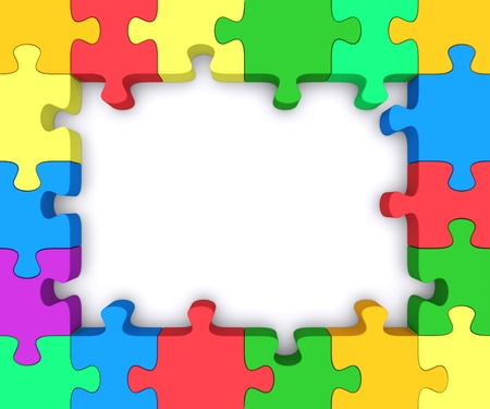 Beautiful frame made ??up of pieces of colored puzzles.  Stock Photo