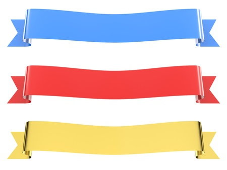 Isolated ribbons. Gold, blue, red. 3d image photo
