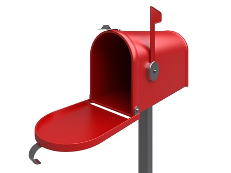 Open mailbox. Isolated. 3d image