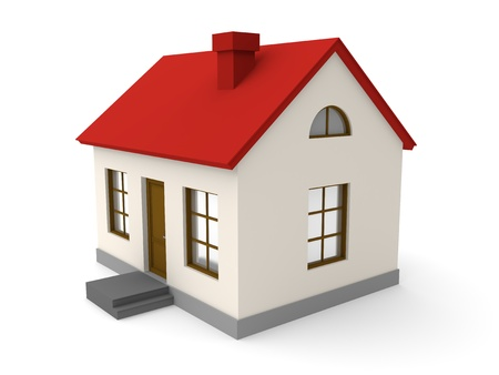 house rental: Small house on a white background. 3d rendered image