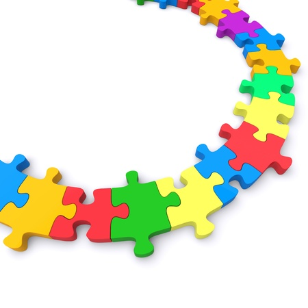 complete solution: Colored jigsaw puzzle. 3d rendered image