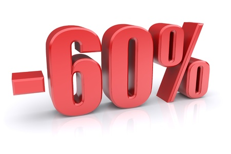 60% discount icon on a white background