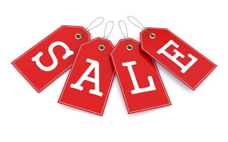 bargain for: Red price tags. 3d illustration Stock Photo