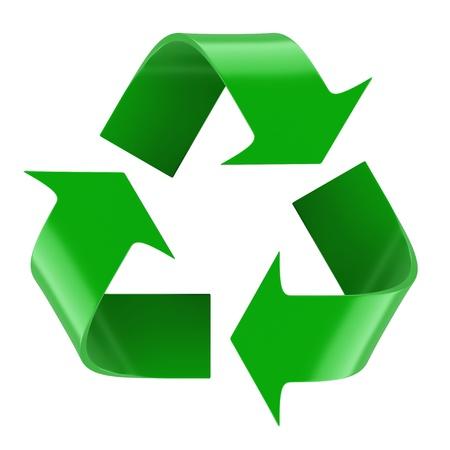 reciclar basura: Aislado símbolo de reciclaje. Imagen 3d rindió