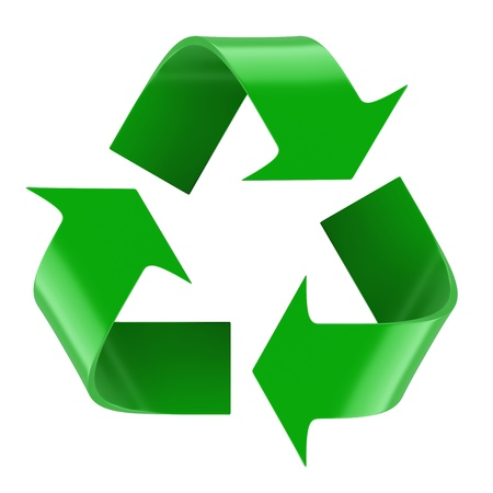 Isolated recycling symbol. 3d rendered image photo