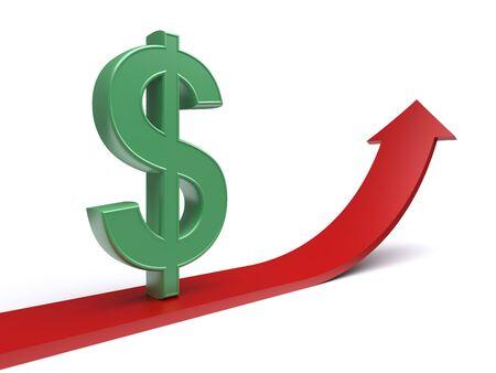 Dollar sign on the rising red arrow. 3d illustration Stock Illustration - 11740223