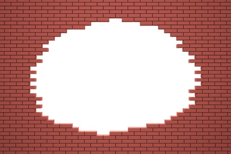Hole in the brick wall. 3d rendered image photo