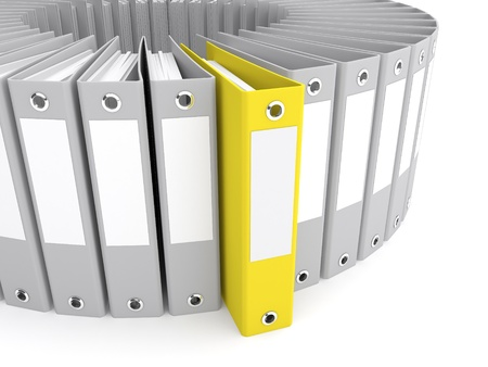 Yellow folder among a set of gray. 3d rendered illustration Stock Illustration - 11740172